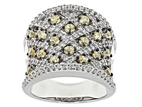 Yellow And White Cubic Zirconia Rhodium Over Sterling Silver Ring 4.69ctw
