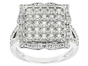 White Cubic Zirconia Rhodium Over Sterling Silver Ring 3.44ctw