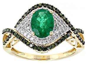 Zambian Emerald & Green & White Diamond 14K Yellow Gold Ring 1.53ctw