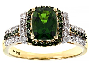 Chrome Diopside & Green & White Diamond 14K Yellow Gold Ring 1.64ctw