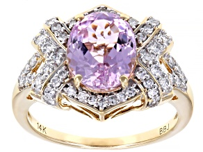 Pink Kunzite & White Diamond 14K Yellow Gold Ring 3.40ctw