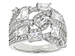 White Cubic Zirconia Rhodium Over Sterling Silver Ring 4.75ctw