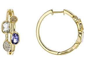 Blue Tanzanite, Blue Aquamarine, Champagne And White Diamond 14k Yellow Gold Earrings 1.83ctw