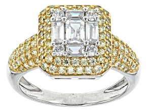 Yellow And White Cubic Zirconia Rhodium And 18k Yellow Gold Over Sterling Silver Ring 3.07ctw