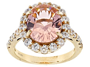 Pink Glass & White Cubic Zirconia 18k Yellow Gold Over Sterling Silver Ring 7.23ctw