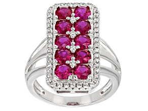 Lab Created Ruby & White Cubic Zirconia Rhodium Over Sterling Silver Ring 3.82ctw