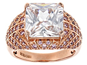 Pink & White Cubic Zirconia 18k Rose Gold Over Sterling Silver Ring 12.24ctw