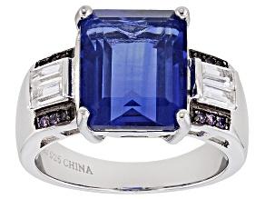 Blue Fluorite Sterling Silver Ring 8.96ctw