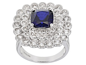 Blue Lab Created Sapphire Sterling Silver Ring 4.96ctw