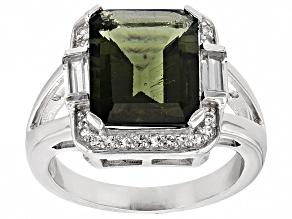 Green Moldavite Sterling Silver Ring 3.76ctw