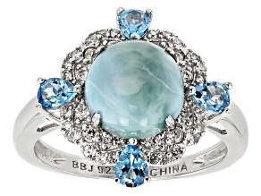 Blue Larimar Sterling Silver Ring 3.63ctw.