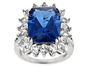 Blue Lab Created Spinel Sterling Silver Ring 13.72ctw
