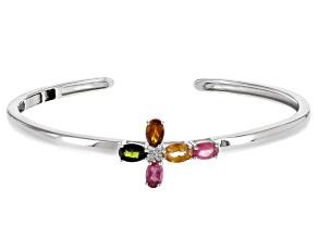 Multi Color Tourmaline Sterling Silver Cross Cuff Bracelet 1.93ctw