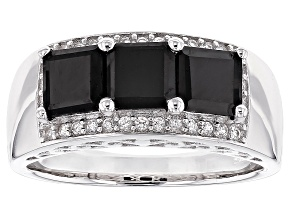 Black Spinel Sterling Silver 3-Stone Ring 2.40ctw
