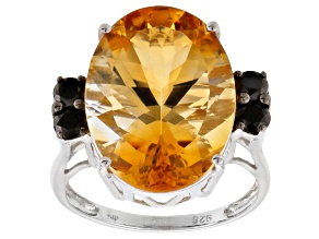 Yellow Brazilian Citrine Sterling Silver Ring 9.46ctw