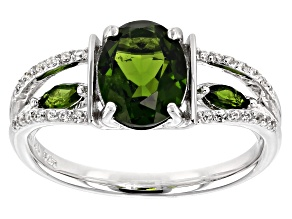 Green Chrome Diopside Sterling Silver Ring 2.04ctw