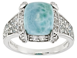 Blue Larimar Sterling Silver Ring 1.07ctw