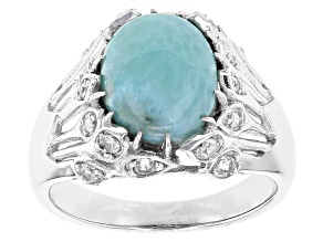 Blue Larimar Sterling Silver Ring .40ctw