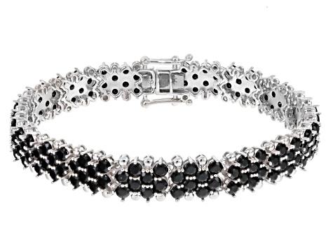 Black Spinel Sterling Silver Bracelet 17 02ctw