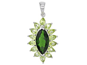 Green Peridot Sterling Silver Pendant 3.87ctw