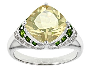 Yellow Quartz Silver Ring 4.20ctw