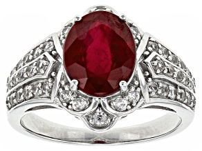 Mahaleo Ruby Sterling Silver Ring 4.14ctw