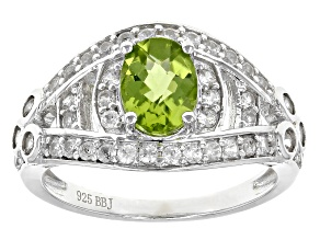 Green Peridot Sterling Silver Ring 2.15ctw