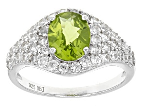 Green Peridot Sterling Silver Ring 2.96ctw