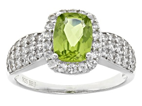 Green Peridot Sterling Silver Ring 2.36ctw