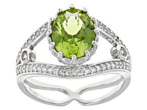 Green Peridot Sterling Silver Ring 2.81ctw