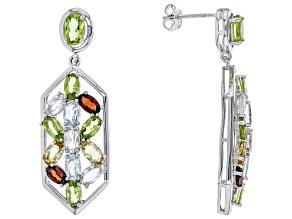 Green Peridot Sterling Silver Earrings 6.31ctw