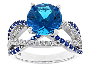Blue Lab Created Zandrite(R) Sterling Silver Ring 3.84ctw