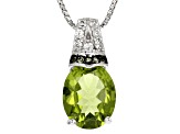 Green Peridot Silver Pendant With Chain 2.16ctw