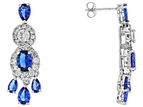 Blue Spinel Sterling Silver Earrings 5.35ctw