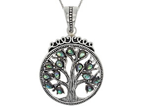 Multicolor Abalone Shell Silver Tree Of Life Enhancer With Chain
