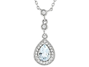 Blue Aquamarine Silver Pendant With Chain 1.09ctw