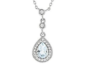 Blue Aquamarine Silver Pendant With Chain 1.09ctw