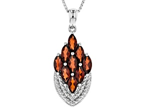 Red Garnet Silver Pendant With Chain 2.74ctw