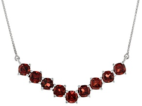Red Garnet Silver Necklace 6.68ctw