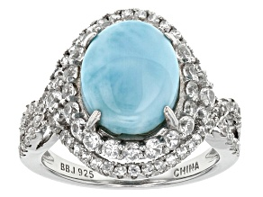 Blue Larimar Sterling Silver Ring 1.51ctw