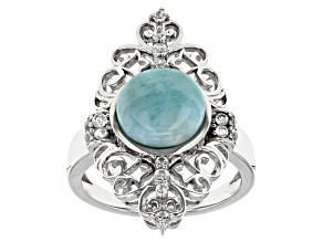 Blue Larimar Sterling Silver Ring .35ctw