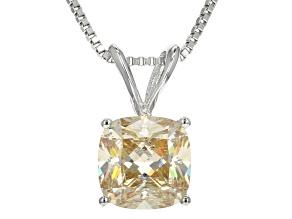White Fabulite Strontium Titanate Silver Pendant With Chain 3.00ct