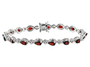 Red Garnet Sterling Silver Bracelet 6.68ctw