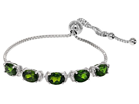 Green Chrome Diopside Sterling Silver Bolo Bracelet 6.12ctw