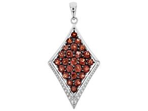 Red Garnet Sterling Silver Pendant 3.16ctw