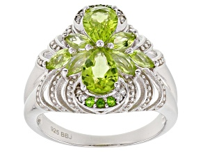 Green Peridot Sterling Silver Ring 2.00ctw