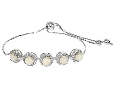 Multicolor Ethiopian opal sterling silver bolo bracelet 1 99ctw