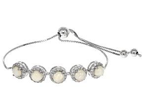 Multicolor Ethiopian opal sterling silver bolo bracelet 1.99ctw