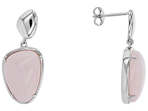 Free-Form Cabochon Pink Peruvian Opal Rhodium Over Sterling Silver Dangle Earrings
