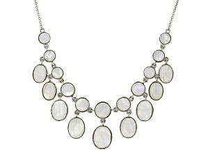 White Rainbow Moonstone Sterling Silver Necklace